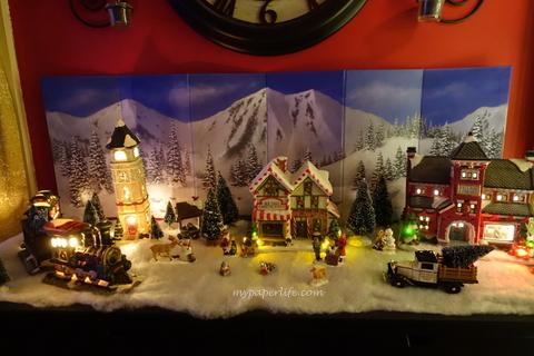 Christmas Village top shelf