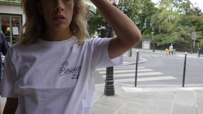 my Parisian life tee shot of tee from front