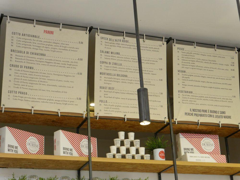 milan Panini Durini menu
