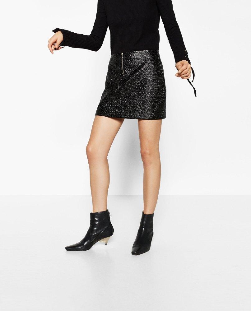 Jupe vernie texturée Zara