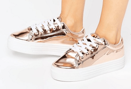 chaussures rose gold à plateforme