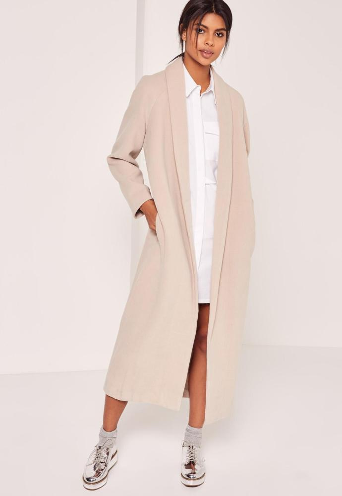 Manteau long col revers Missguided