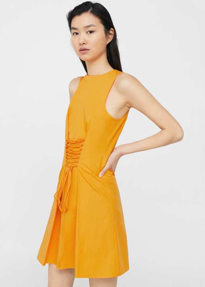 robe-jaune-corset-mango