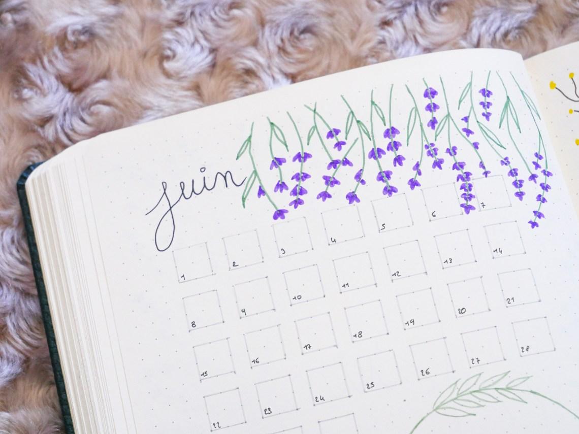 bullet-journal-juin-month-lavande