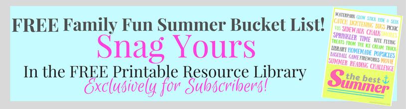 FREE Summer Family Fun Bucket List!