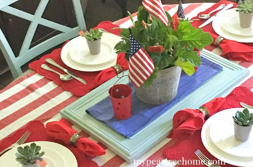 red, white, & blue table