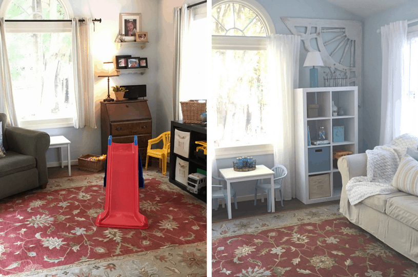 Want to make your playroom actually LOOK like the rest of your house on the cheap? Click to see the post!