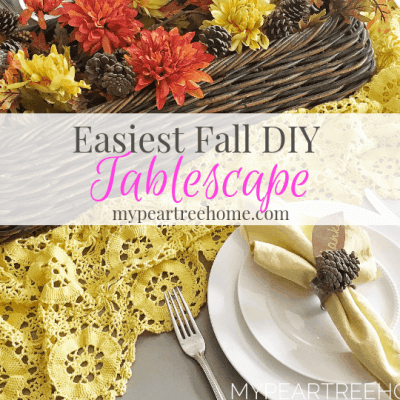 "Why complicate things? This tablescape has ""fall"" written all over it and uses things you already have on hand! Click to the post to see how to put it together and Get your Thanksgiving table looking spiffy!"