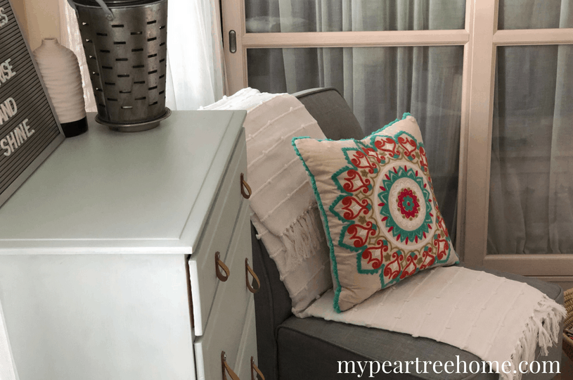 "Want to carve out some space to work at home, but don't have a whole room to commit to an ""office"". Click to the post to see how I used a little corner in a bedroom to create a tranquil office retreat!"