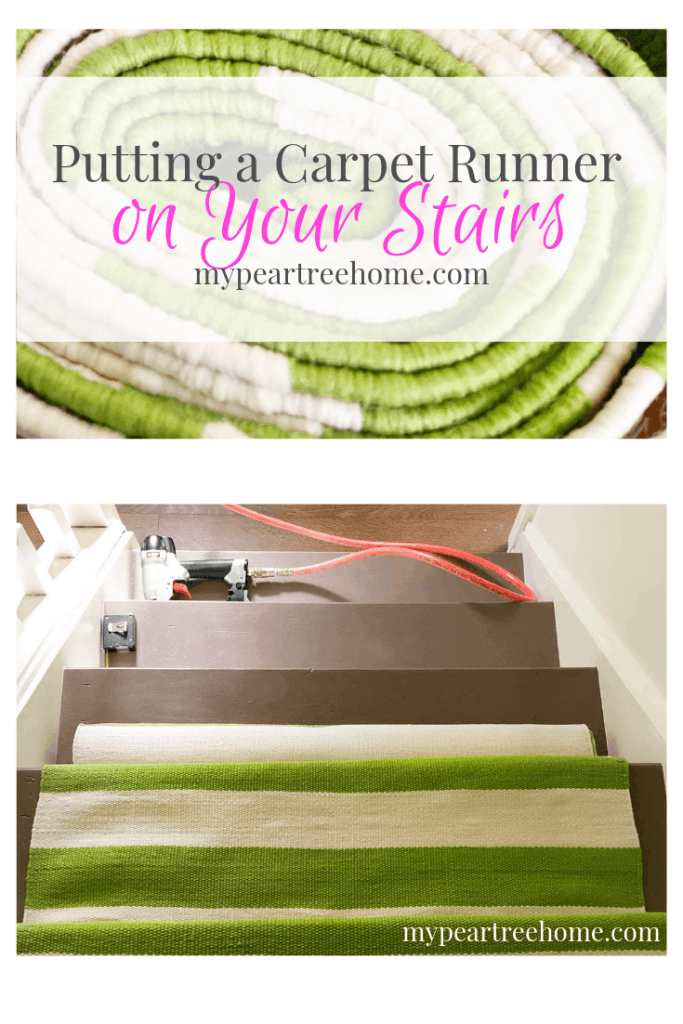 green and ivory stripe carpet on stairs