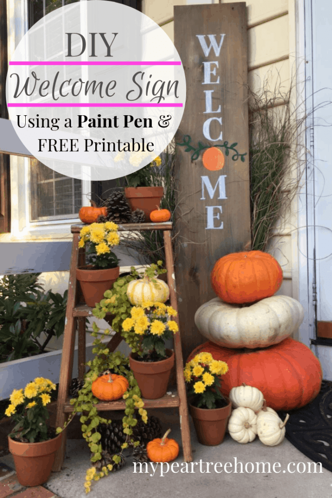 Welcome guests and make your front porch look cute this fall with this DIY sign. Make your own fall welcome sign with a PAINT PEN! Yep, you don't need anything fancy to make this sign! Click to the post to see how!