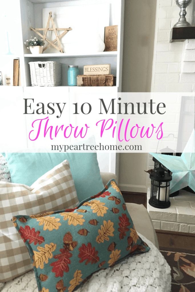 Do you love throw pillows? You don't have to be a seamstress OR spend a bunch of money to have seasonal throw pillows. Click to the post to see what I used to make these. It's not what you think!