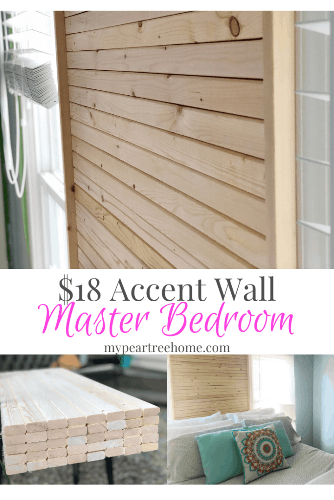 Add a wooden accent wall to your master bedroom. See this easy project that only took $18 of our $100 makeover. Click to the post to see how we made it!