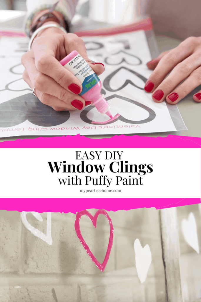 Want to learn how to make these easy window clings using puffy paint? See how simple it is and snag the free printable heart template page!