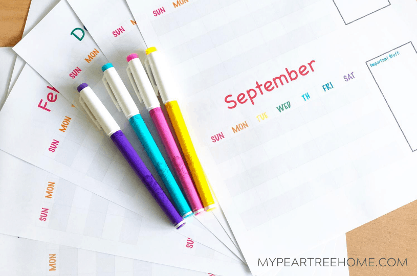 monthly printable calendar with bright colored headers