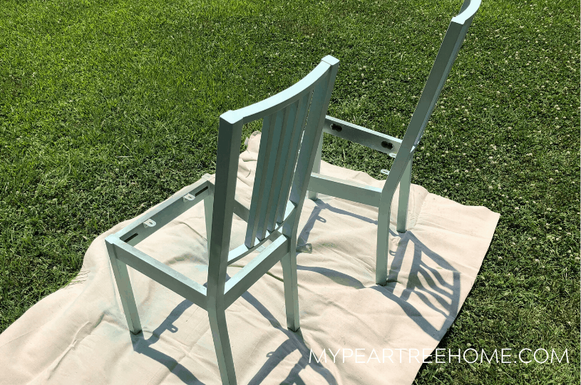 spray painting chairs