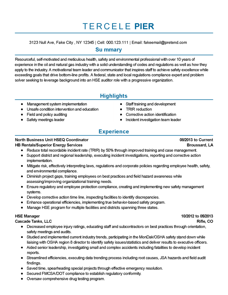 Hse Coordinator Cover Letter Professional Safety And Environmental Professional Templates To