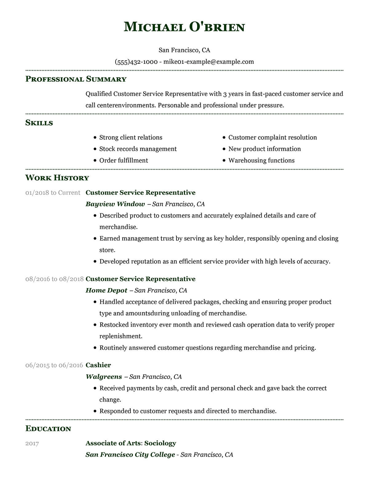 Free Example Resume Example Resume For Customer Service Villa Chems