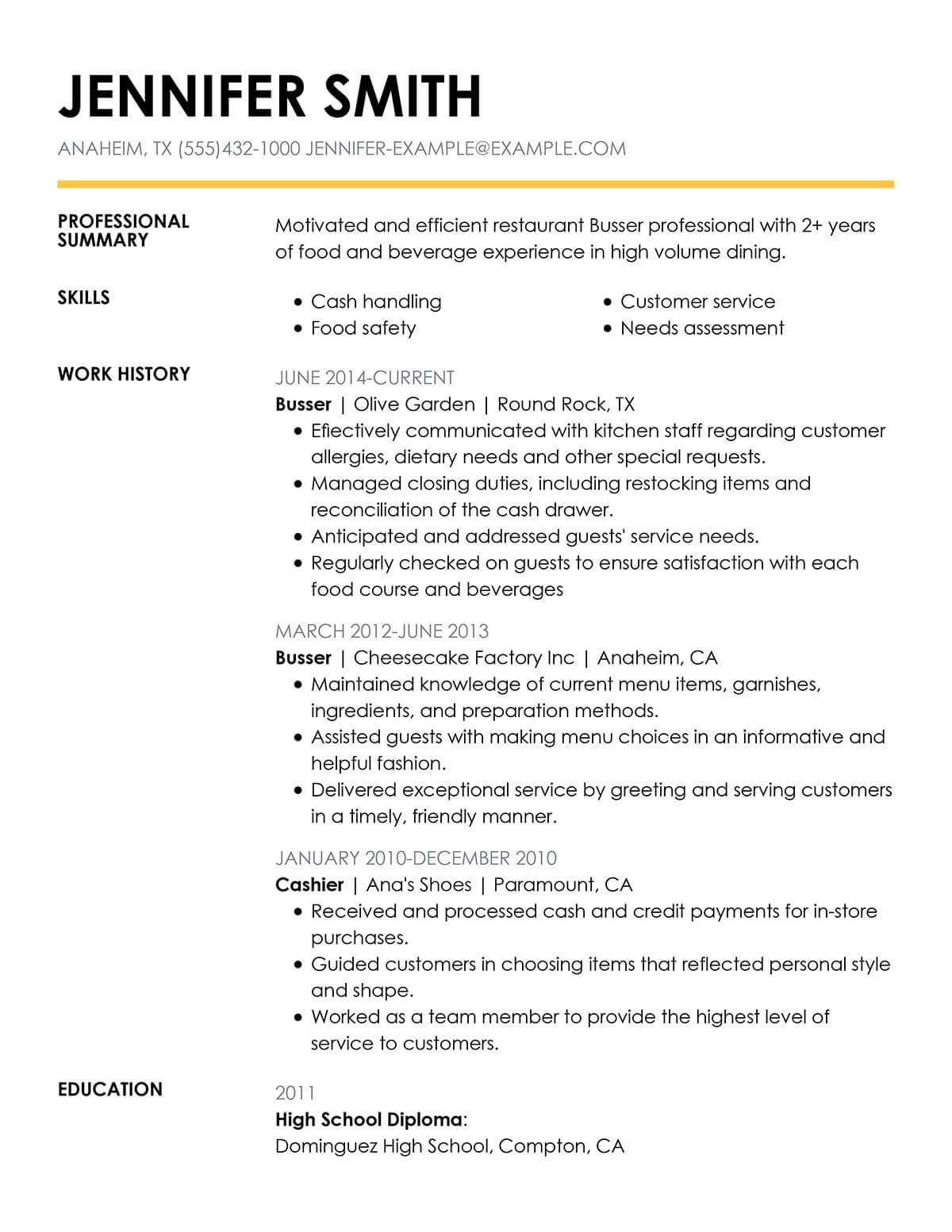 Busser Resume Sample Unforgettable Restaurant Server Resume Examples To Stand
