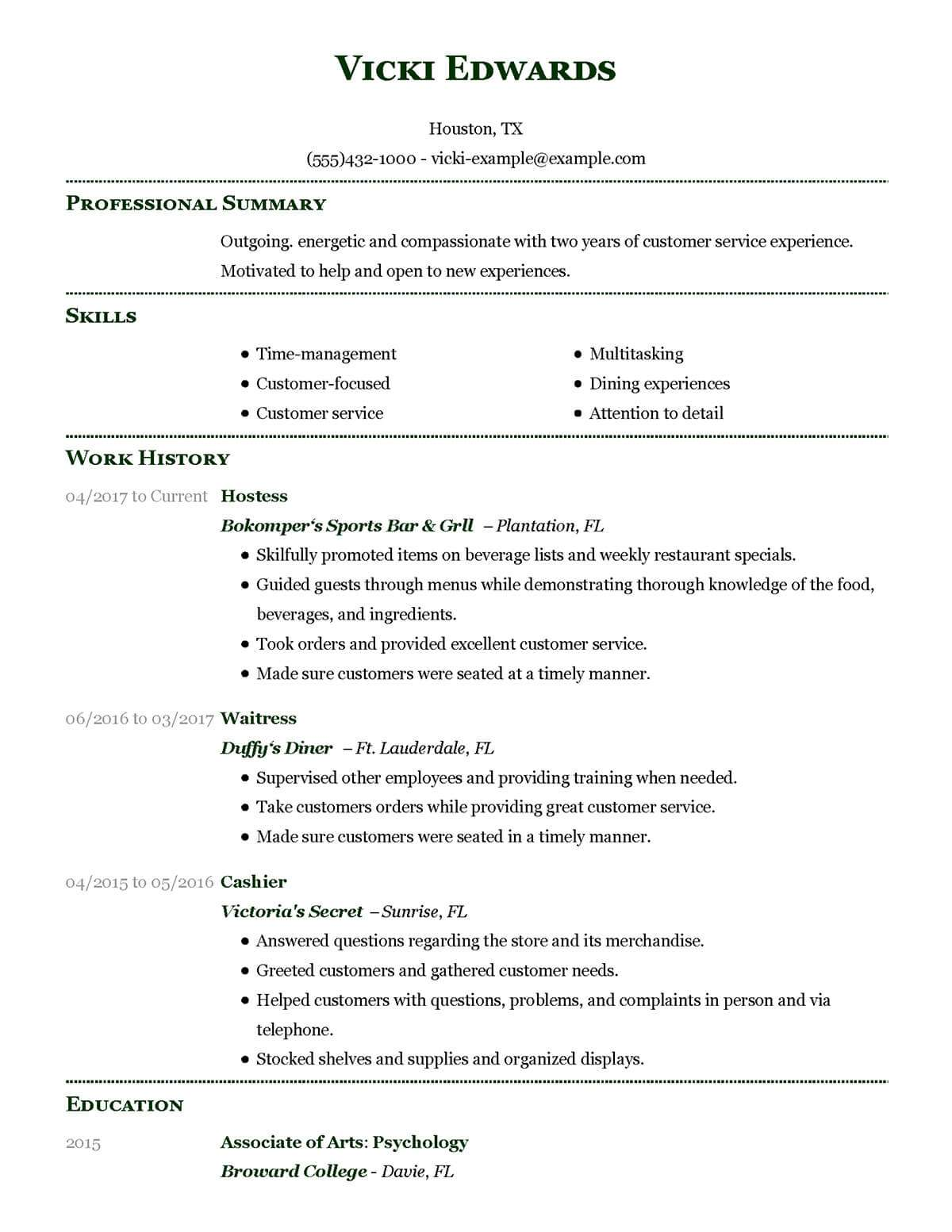 Example Server Resume Unforgettable Restaurant Server Resume Examples To Stand Out
