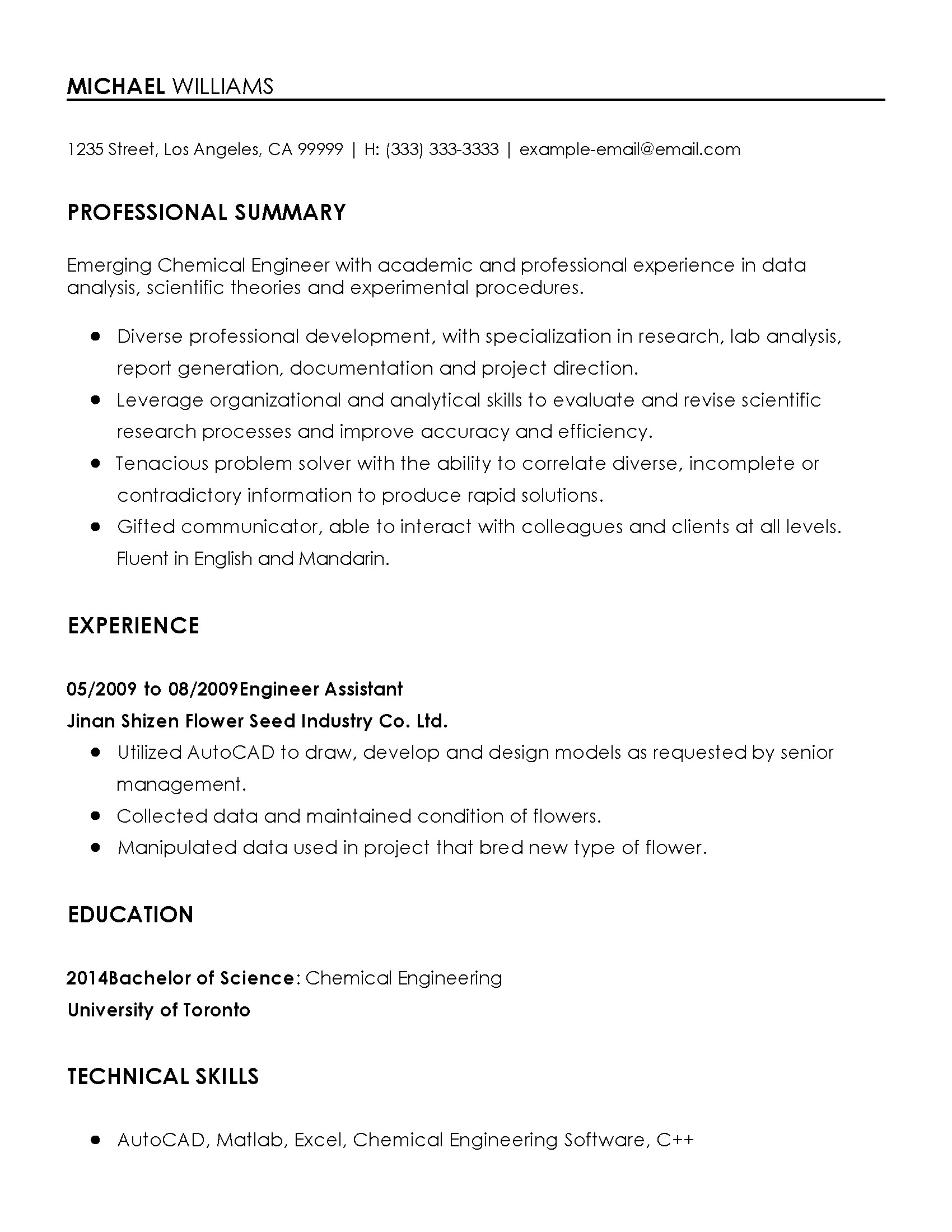 Sample Chemical Engineering Resume Professional Chemical Engineer Templates To Showcase Your
