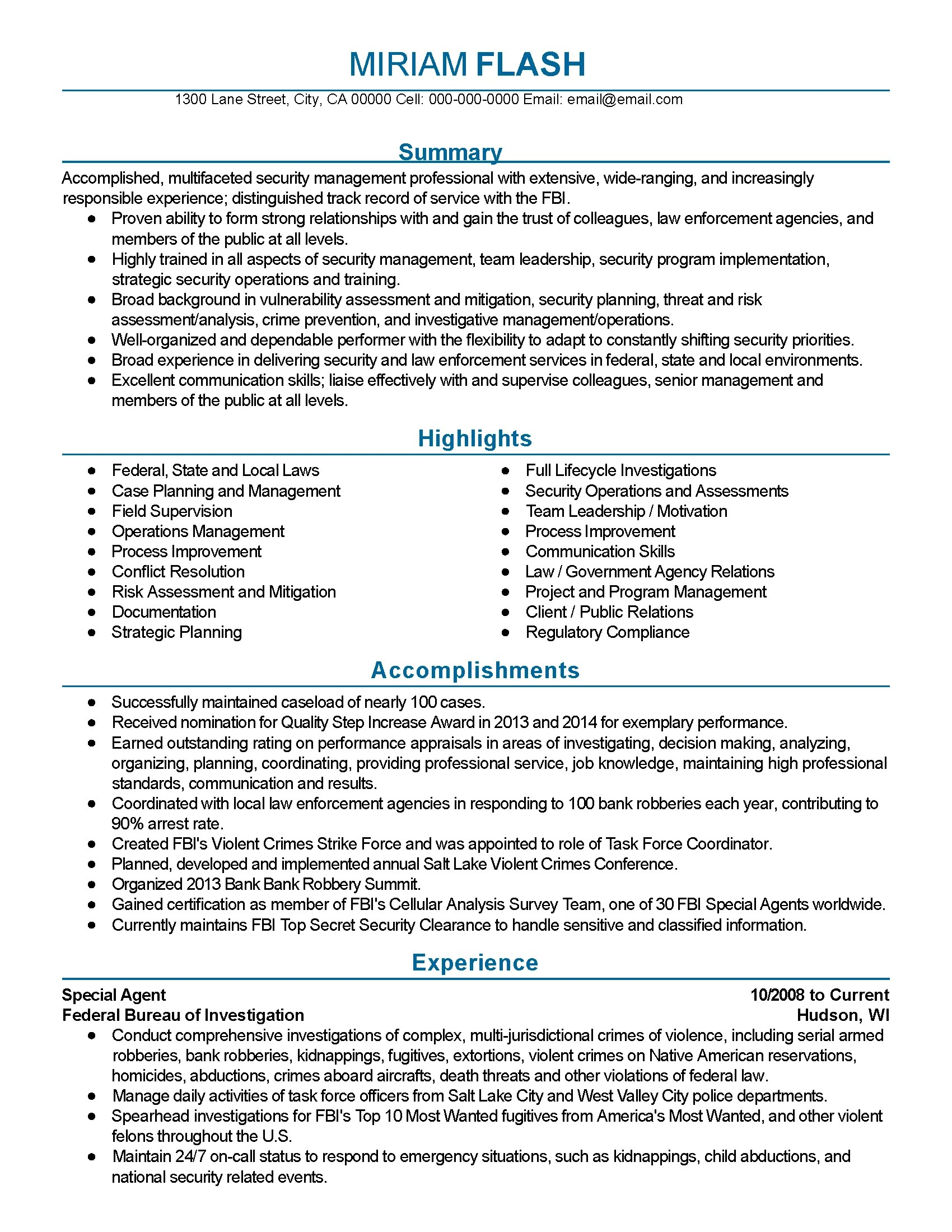Federal Resume Template Professional Fbi Agent Templates To Showcase Your Talent