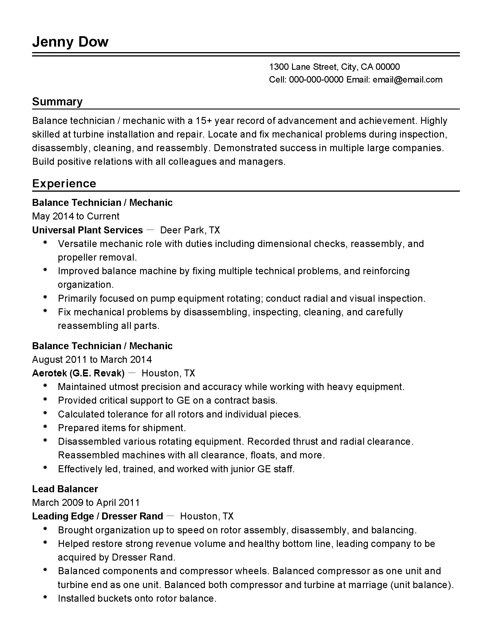 Plant Manager Resume Professional Balance Technician Templates To Showcase Your