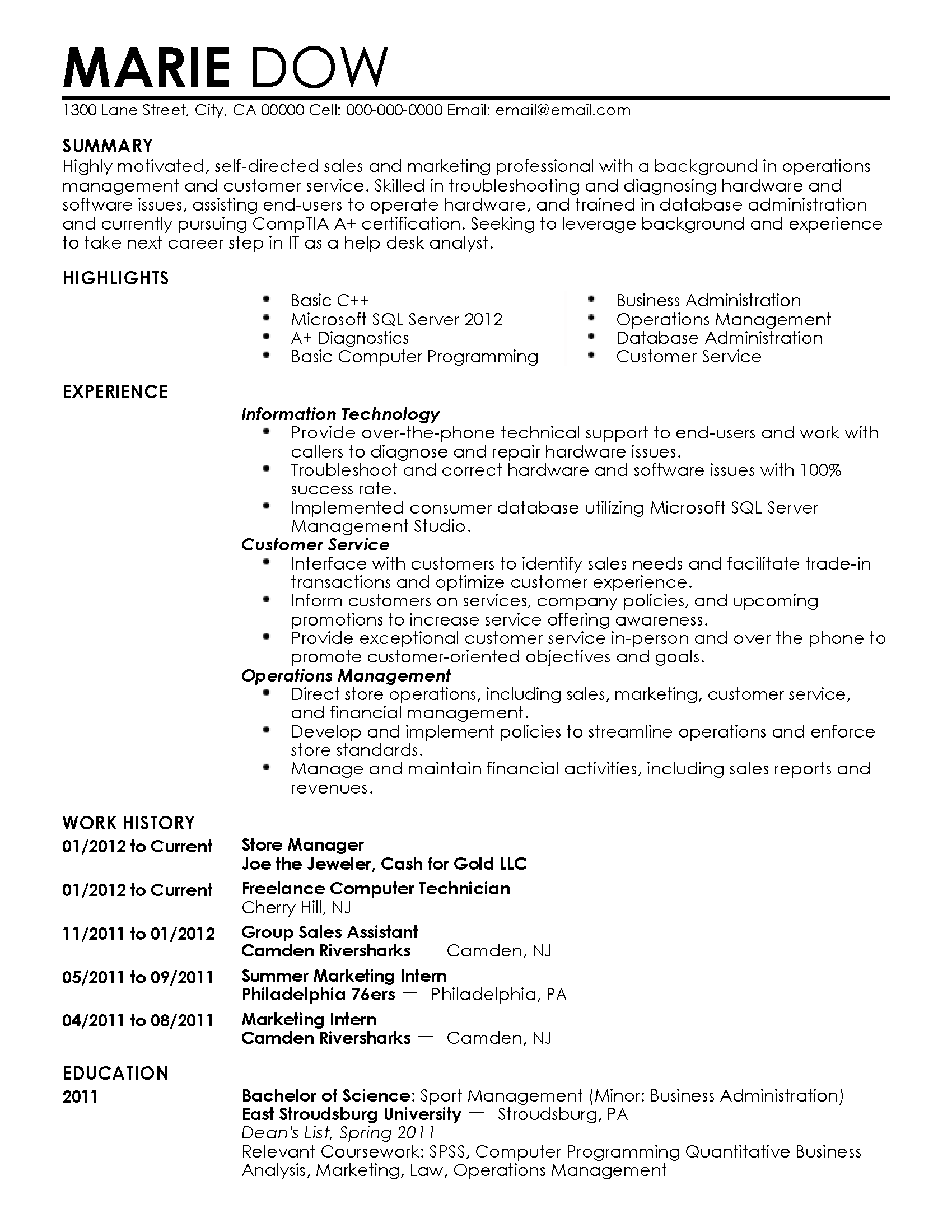 Supervisor Resume Examples 2012 Professional Technical Support Manager Templates To