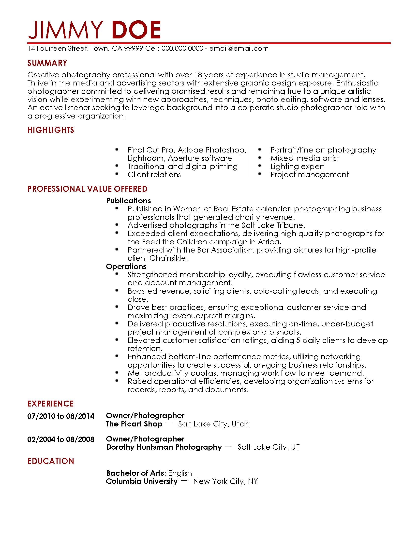 Photography Resume Samples Professional Photographer Templates To Showcase Your