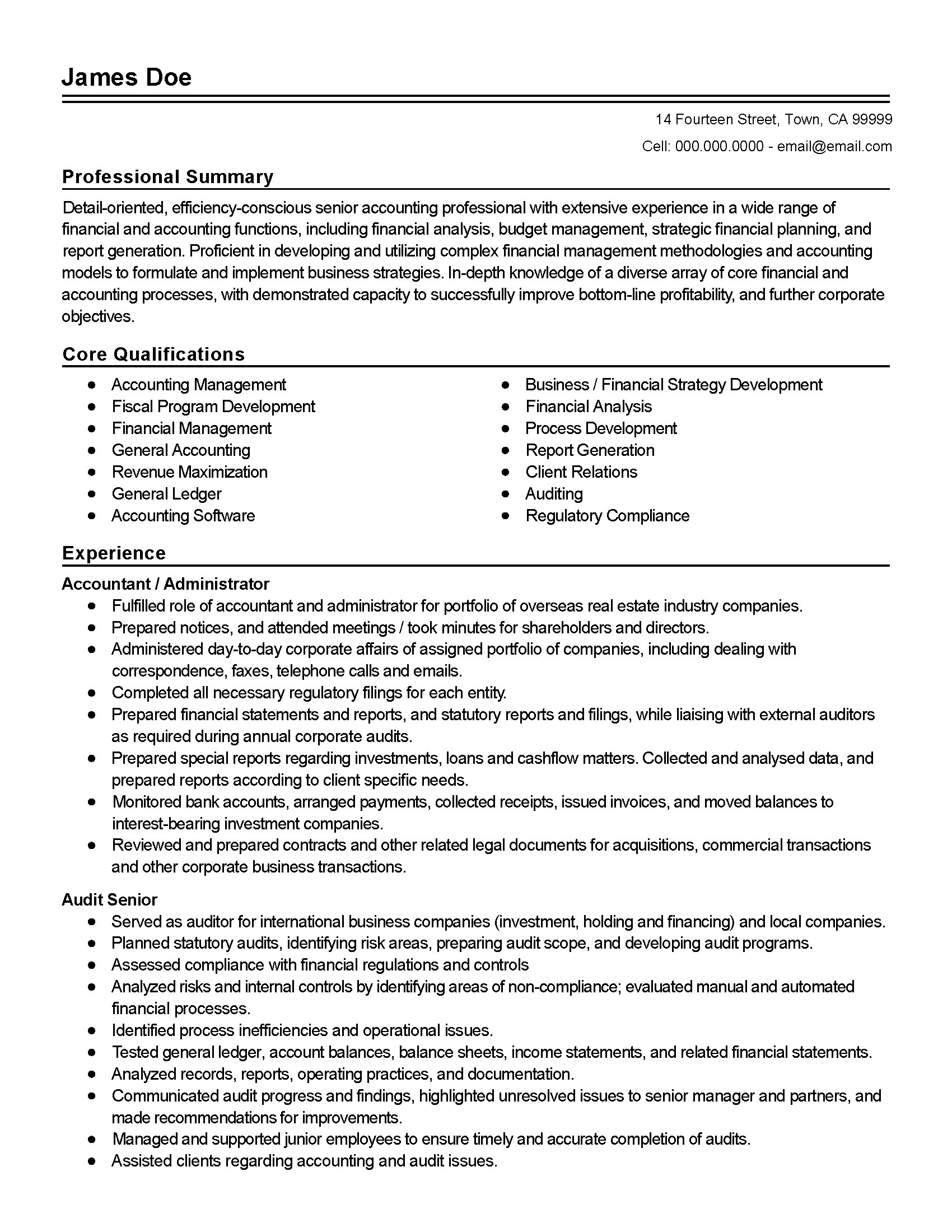 Investment Accountant Resume Professional Accounting Administrator Templates To