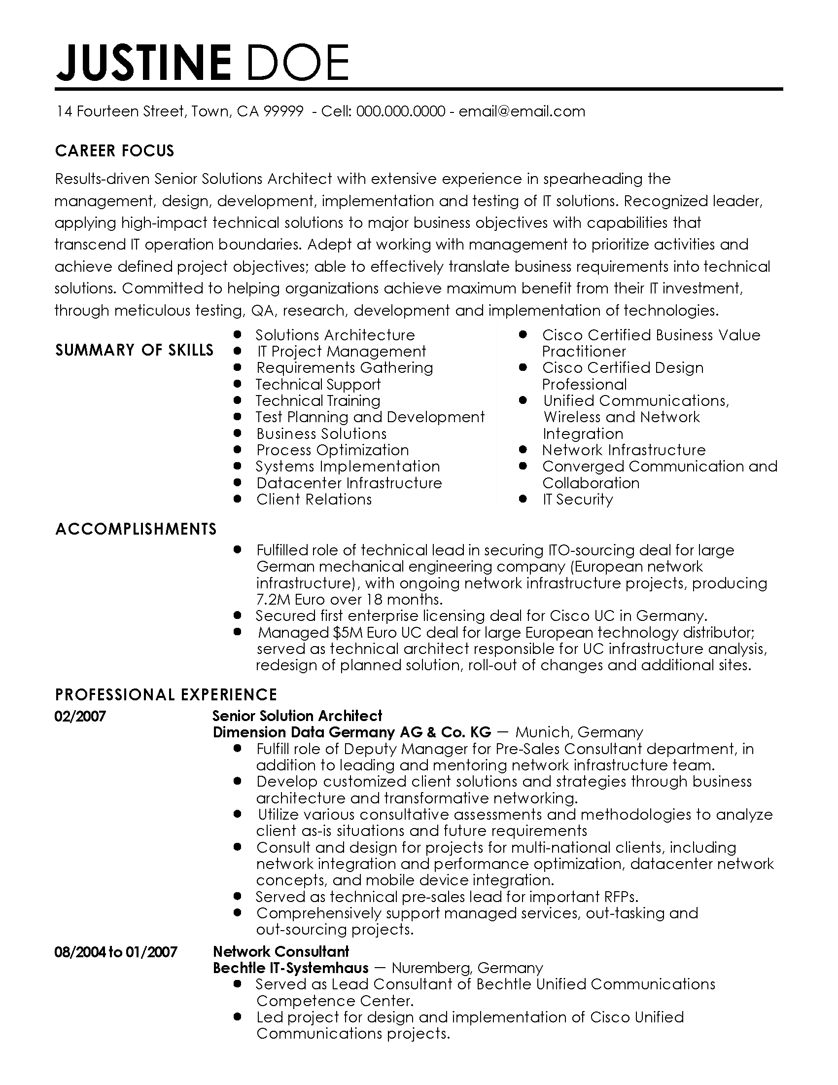 Cloud Consultant Resume Professional Senior Solutions Architect Templates To