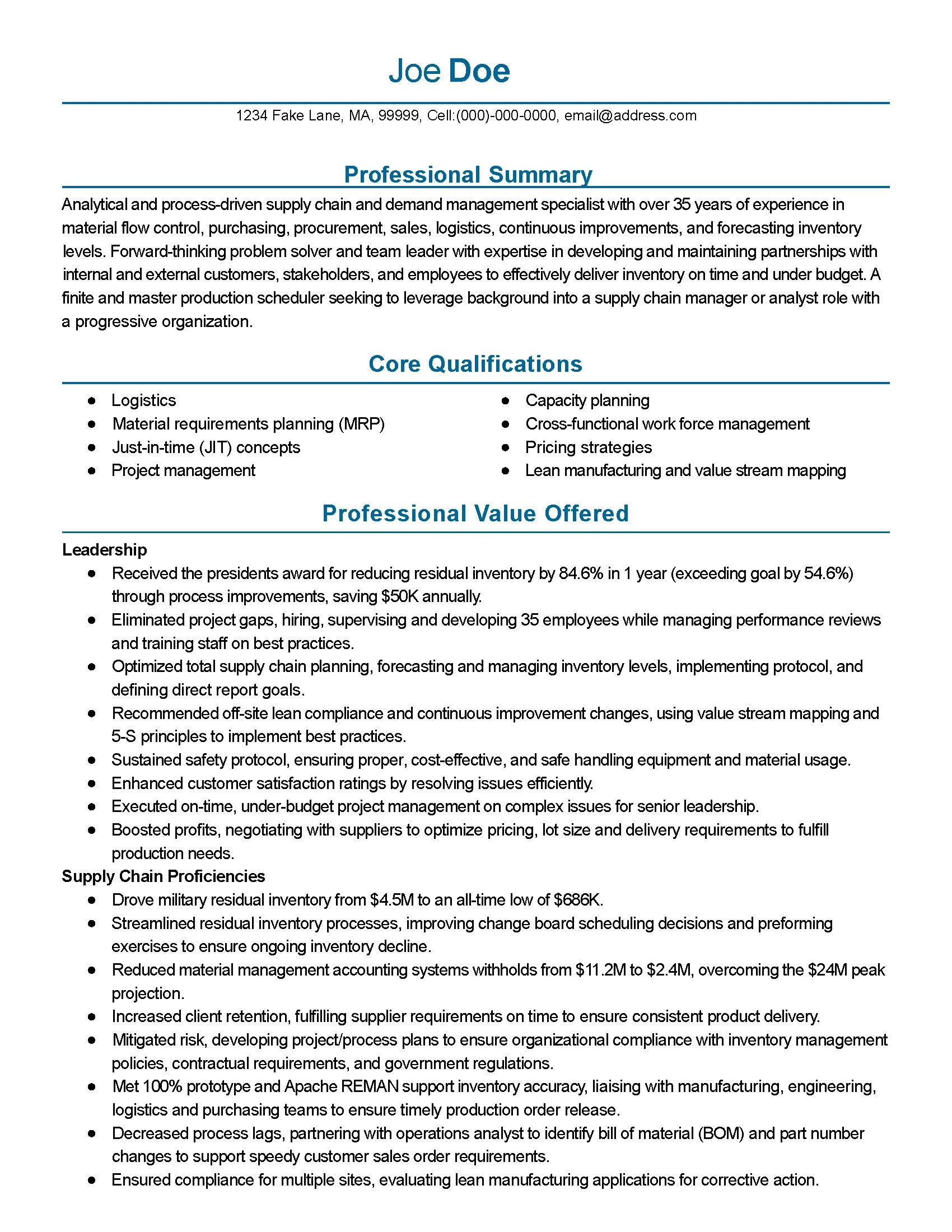 Document Control Specialist Resume Sample Professional Supply Chain Management Templates To Showcase