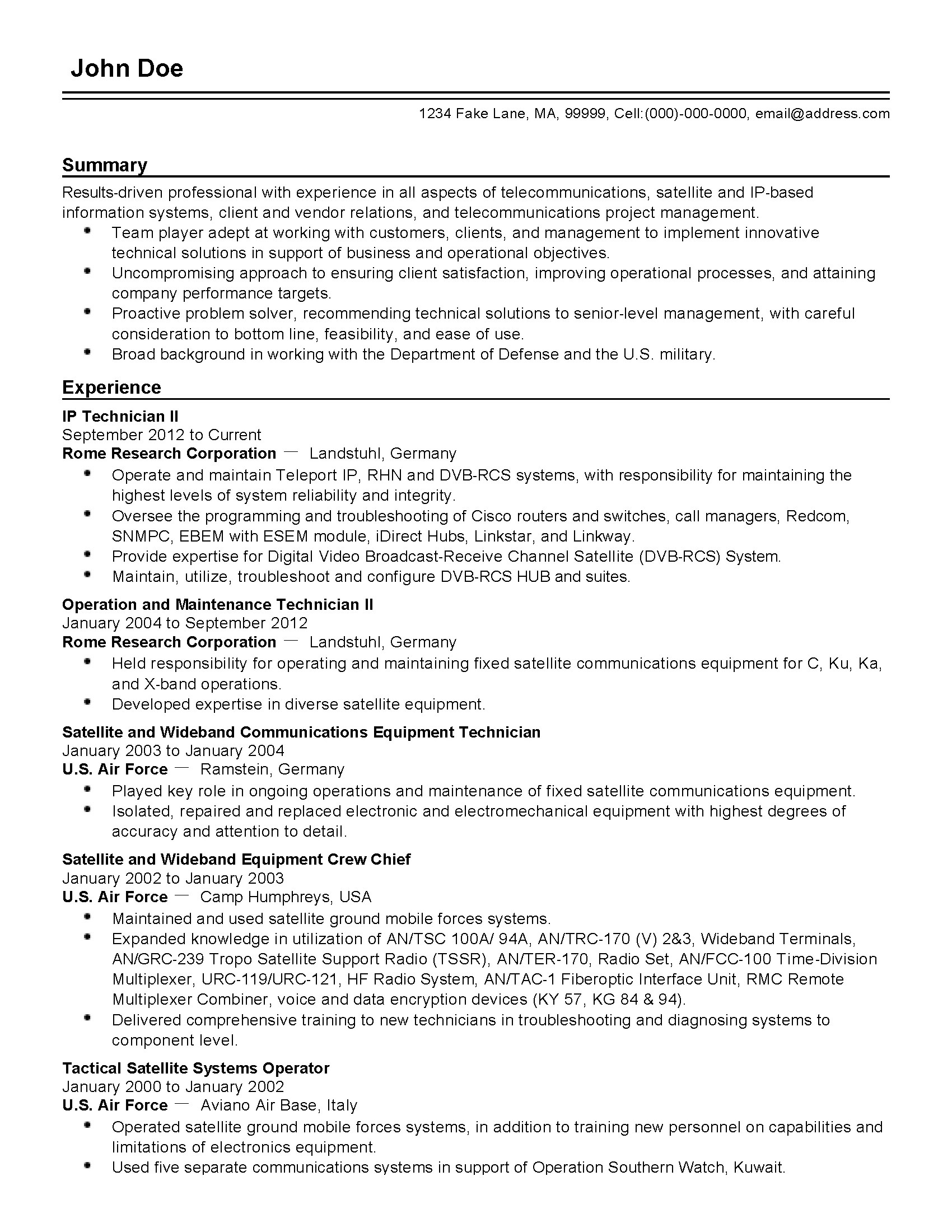 Resume For Telecommunications Technician Professional Telecommunications It Professional Templates
