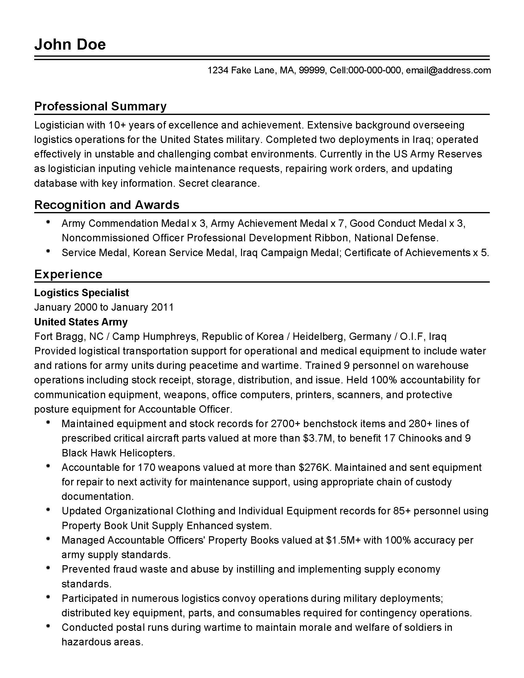 Achievement Resume Examples Professional Military Logistician Templates To Showcase Your