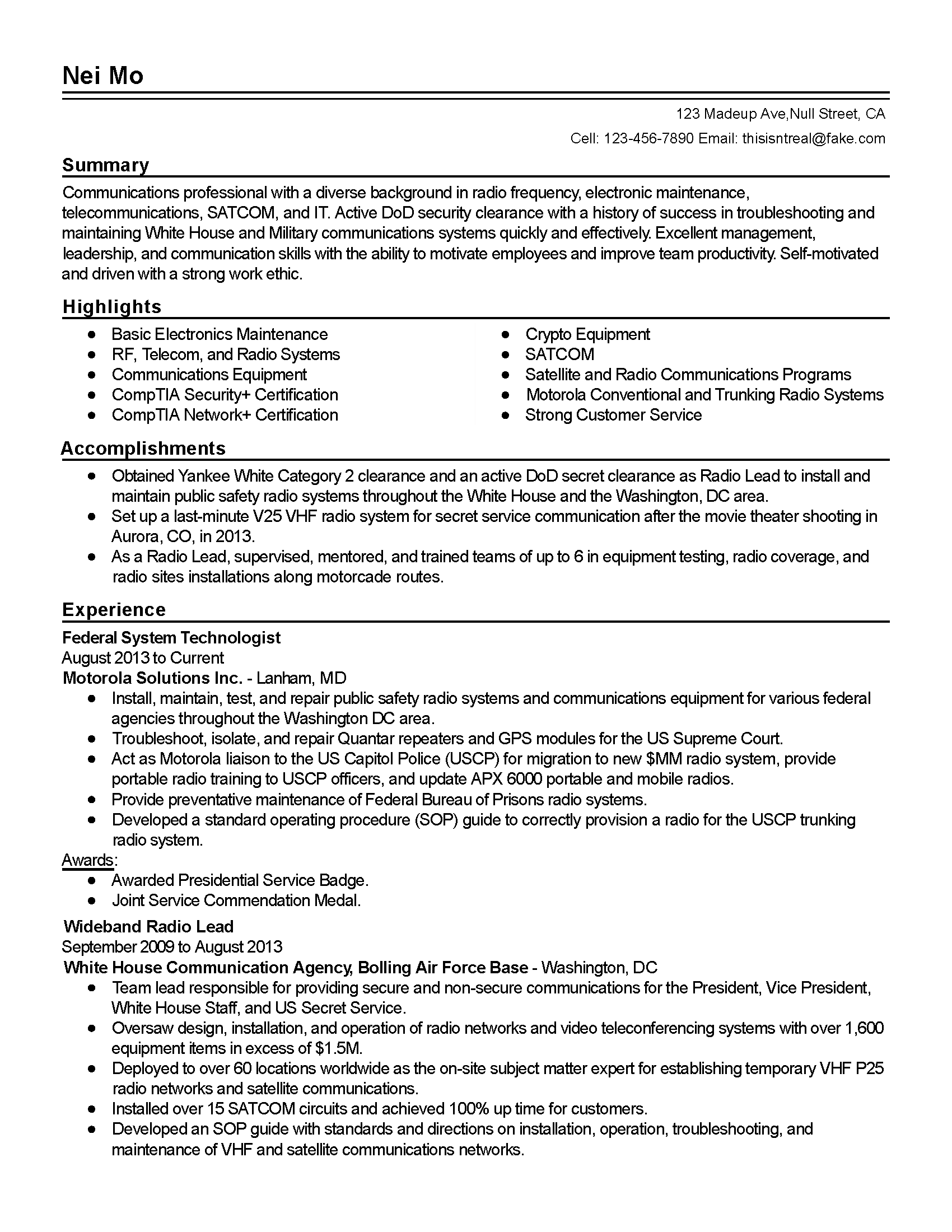 Resume For Telecommunications Technician Professional Federal System Technologist Templates To