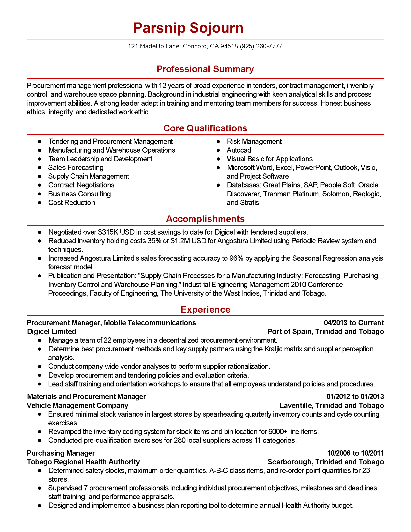 Sample Procurement Resume Professional Procurement Manager Templates To Showcase