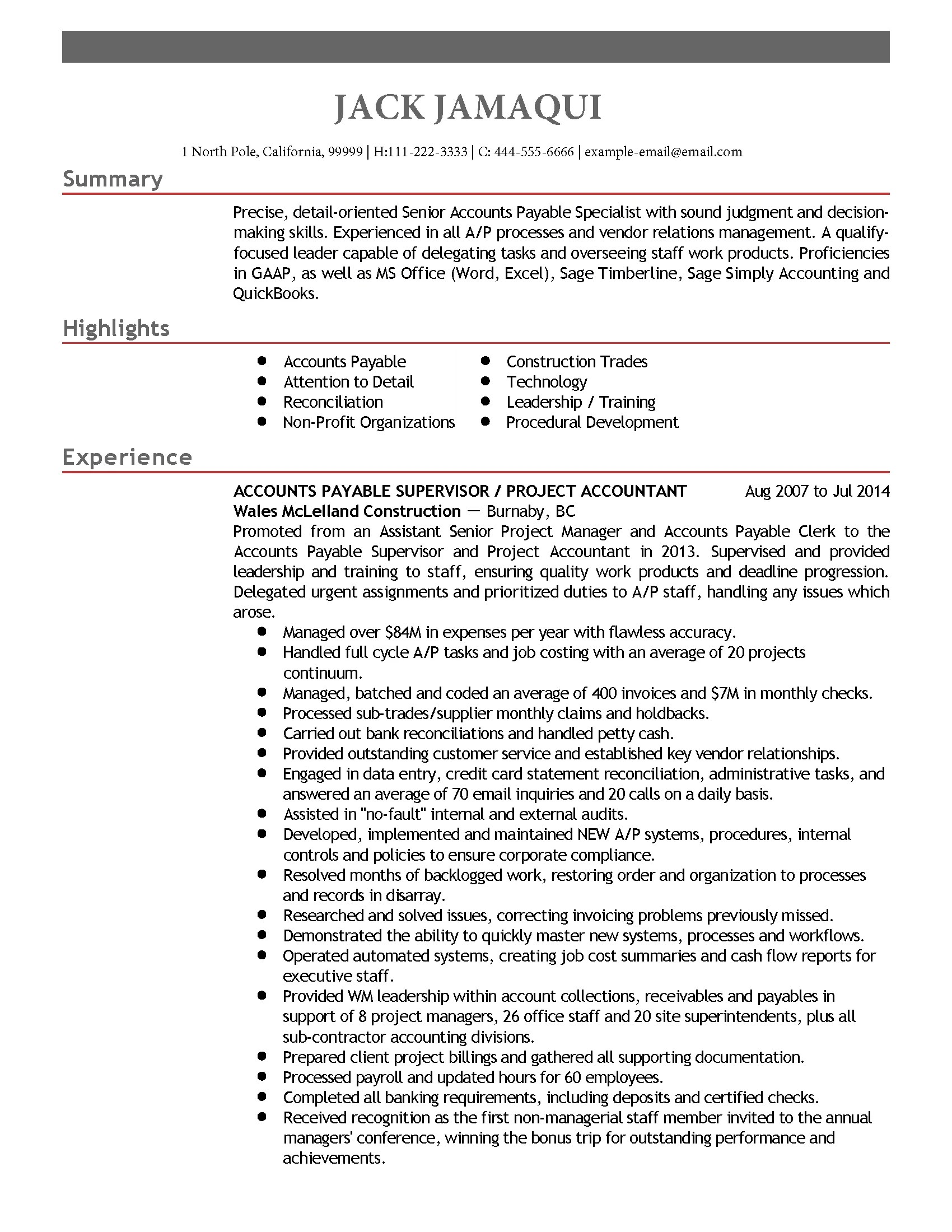 Objective For Accounts Payable Resume Professional Accounts Payable Supervisor Templates To