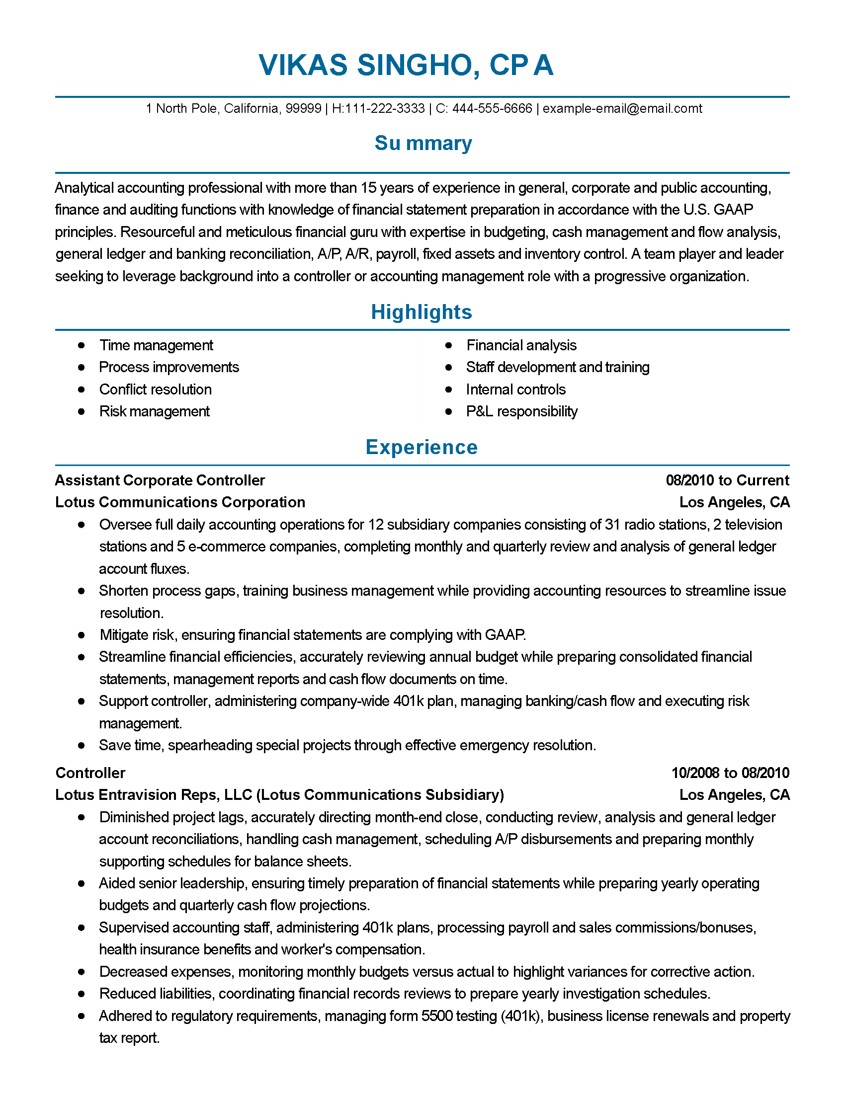 Professional Accounting Resume Templates Professional Assistant Corporate Controller Templates To