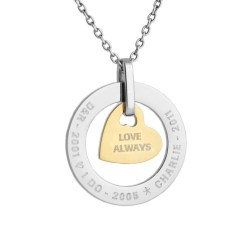 personalised family silver circle with gold heart necklace medium