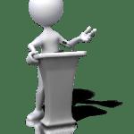 figure speaking at podium