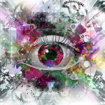 Seeing eye with abstract background