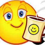 sleepy smiley face w coffee sluggish no voice