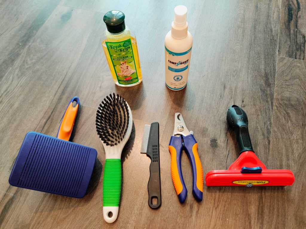 Image of the list of products important for dog grooming at home