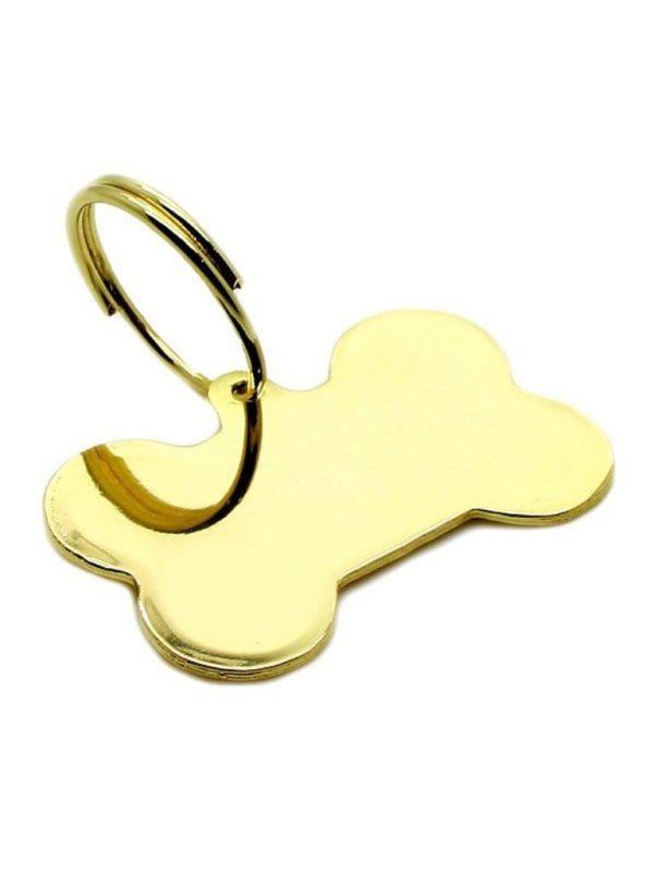 Pingente de Identificação para Cachorro Osso Folheado a Ouro Gravação Nome e Telefone