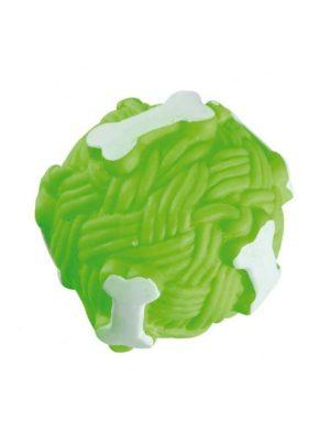 Bola com Osso em Vinil para Cães 7,5cm Sonora Verde