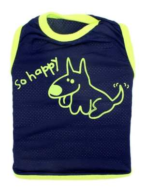 Camiseta para Cachorros Regata Happy com Proteção UV Azul Marinho e Verde Limão