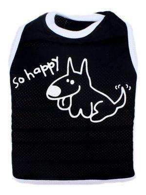 Camiseta para Cachorros Regata Happy com Proteção UV Preta