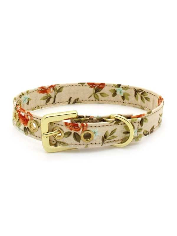 Coleira de Cachorro Tecido Salmão e Vermelho Florido Metais Dourados Linha Conforto