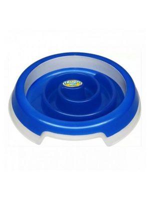 Comedouro Slow Food Cães e Gatos Médio Azul Truqys Pets