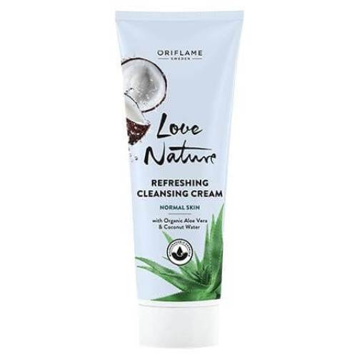 34819 oriflame - Sữa rửa mặt Love Nature Refreshing Cleansing Cream with Organic Aloe Vera & Coconut Water